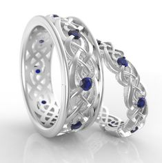 Custom wedding set of his & hers palladium rings with sapphires, eternity bands Celtic Engagement Rings, Wedding Sets, Eternity Bands, Custom Jewelry, Sapphire, Jewels, Detail, Etsy, Personalized Jewelry