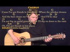 Friends In Low Places - Fingerstyle Guitar Cover Lesson in G with Chords/Lyrics - YouTube