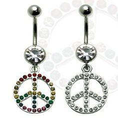 Multi Jewel Peace Sign Dangle Belly Ring Surgical Steel
