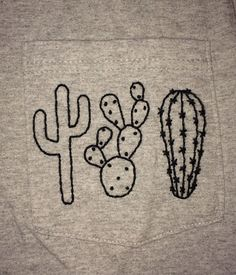 Hand Embroidered Cactus Pocket Tee by stitchandstuffs on Etsy https://www.etsy.com/listing/237208464/hand-embroidered-cactus-pocket-tee