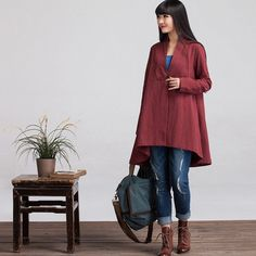 Loose Fitting Linen Jacket Coat Outwear for Women by deboy2000