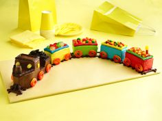 Birthday Cake Idea - Train Cake Recipe from Betty Crocker using loaf pans.