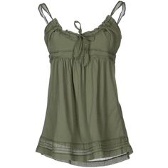 40Weft Top (1.570 RUB) ❤ liked on Polyvore featuring tops, shirts, tank tops, tanks, blouses, military green, cotton tank tops, sleeveless shirts, green jersey and green tank