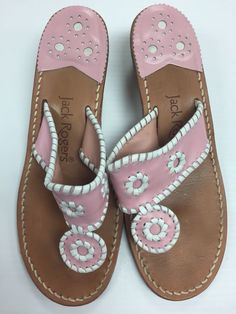 eaed522116ed3 JACK ROGERS Pink Sandals Thong Leather Size 8 Pink  White Resort Low Heel   fashion · Pink SandalsFlip Flop SandalsFlip FlopsJack ...