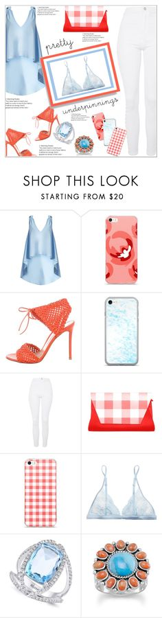 """""""What's Underneath Your Blouse"""" by atelier-briella ❤ liked on Polyvore featuring Natasha Zinko, Gianvito Rossi, Topshop, La Perla, Effy Jewelry, Clutch, iPhonecases and prettyunderpinnings"""