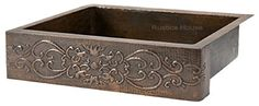 This copper apron sink was designed by Rustica House for a large handmade style kitchen. Model F02C is a Mexican fixture with patina finishing of choice. Select in the kitchen sink options one of four patinas reflecting best your home decor. Shipping time to the US mainland is about a month. Large Mexican copper apron sink by Rustica House. #myRustica