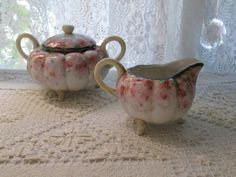 Creamer & Covered Sugar Double Handled-Unmarked Nippon, 3 Footed, Hand Painted Pink Cherry Blossoms, Gold Trim, Round Puffy Ribbed in Shape - pinned by pin4etsy.com