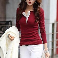 Women's+Casual+Solid+Color+Button+Long+Sleeve+T-Shirt+–+USD+$+7.99