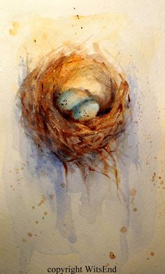 Bird Nest painting original Eggs nursery watercolor by 4WitsEnd
