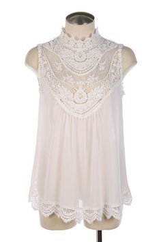 Victorian Chemise Chiffon Blouse High Lace Collar Vintage Look Top Ivory New S | eBay