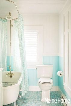 Turquoise bathroom features a silver claw foot tub accented with an oval shower rail and a vintage exposed plumbing shower kit finished with a turquoise shower curtain. Dream Bathrooms, Beautiful Bathrooms, Modern Bathroom, Small Bathroom, Zen Bathroom, Master Bathrooms, White Bathroom, House Of Turquoise, Bad Inspiration