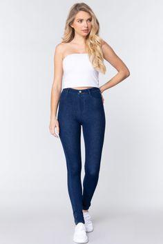 Knit Denim Jeggings   KjSelections Fashion Sale, Knit Fashion, Petite Fashion, Fashion Outfits, Love Jeans, Sexy Jeans, Skinny Jeans, Jeggings, Christian Clothing