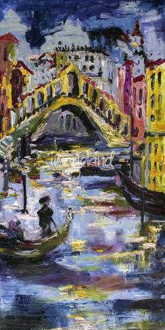 """""""Rialto Bridge Venice Italy"""" by Ginette Callaway, Lovejoy // Original Impressionist oil painting view of Venice the Famous Rialto Bridge. ~~~~~ When I lived in Germany in the 1970s I remember watching a movie one day. It was in German """"Wenn Die Gondeln Trauer Tragen"""" the English title is """"Don't Look Now"""". It made me an instant fan of... // Imagekind.com -- Buy stunning, museum-quality fine art prints, framed prints, and canvas prints directly from independent working artists and ..."""