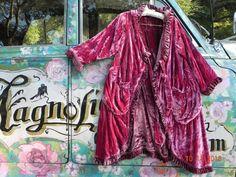 Magnolia Pearl Silk Velvet Jacket Duster Coat Reversible