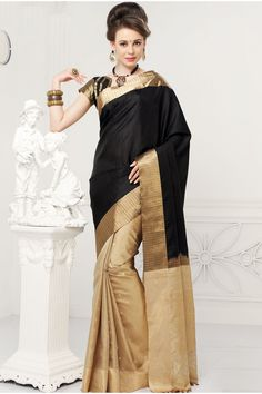 Black resplendent zari weaved pure silk saree with antique gold border -SR10377 | bridal kanchipuram sarees collection | #beautiful #gorgeous #designer #silksaree