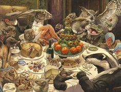 'Feast' illustration by Chris Dunn. Featuring a badger, mice, hares, an owl, toad, chicken, mole, water vole, otters and a squirrel have a dinner party. Whimsical animal art.