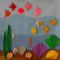 Risultati immagini per cuadros de papel origami Kids Crafts, Summer Crafts, Preschool Crafts, Diy And Crafts, Arts And Crafts, Paper Crafts, Diy Paper, Under The Sea Crafts, Under The Sea Party