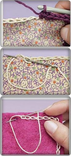 If you looking for a great border for either your crochet or knitting project, check this interesting pattern out. When you see the tutorial you will see that you will use both the knitting needle and crochet hook to work on the the wavy border. Crochet Diy, Crochet Motifs, Crochet Quilt, Crochet Borders, Crochet Crafts, Crochet Stitches, Embroidery Stitches, Crochet Projects, Sewing Projects