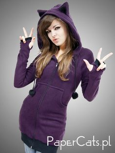L size Hoodie Cat Ears Kitty Violet Animal Fleece Long Kawaii. $65.00, via Etsy.