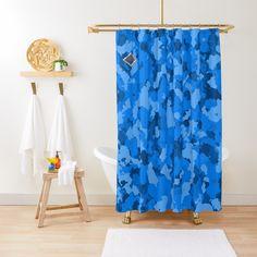 'Enchanted Garden - A Lotus Pattern' Shower Curtain by ZedEx Decor Interior Design, Interior Decorating, Camo Designs, Blue Camo, Enchanted Garden, Sell Your Art, Lotus, Printed, Shower Curtains