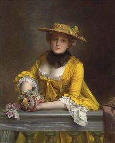 The Yellow Dress by Gustave Jean Jacquet, French, (1846-1909)