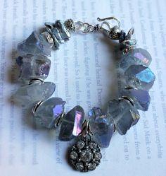Charm bracelet, chunky quartz by soulfuledges Stone Bracelet, Stone Jewelry, Boho Jewelry, Beaded Jewelry, Jewelry Design, Geek Jewelry, Gothic Jewelry, Designer Jewelry, Pandora Bracelets