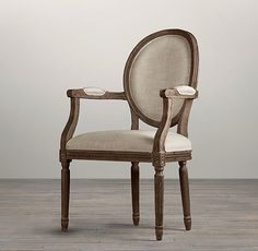 Vintage French Round Upholstered Armchair Brown Oak Drifted