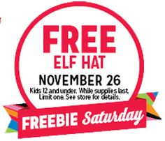 FREE Elf Hat at Kmart on Saturday November 26 on http://hunt4freebies.com