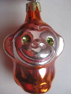 Antique-Russian-Christmas-silver-glass-ornament-034-Monkey-034