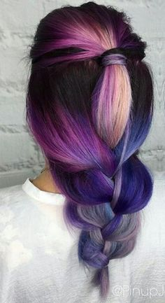 Purple pink braided dyed hair color inspiration idea @pinupjordan