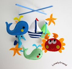 """Baby Crib Mobile - Baby Mobile - Felt Mobile - Nursery mobile - """" whale, crab, seahorse, sailboat"""" design (Custom Color Available)"""