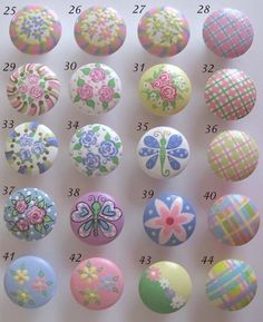 Childrens Drawer Knobs Nursery Cabinet Pulls - You choose the design/s Knobs And Handles, Drawer Knobs, Knobs And Pulls, Drawer Pulls, Door Knobs, Hand Painted Furniture, Kids Furniture, Decoupage, Rock Flowers