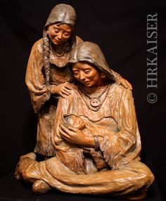 "Bronze Sculpture of Native American Indian mother and children titled  ""Look Of Love""  Ltd. Ed. available for purchase contact  http://www.hrkaiserstudios.com"
