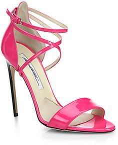 Brian Atwood Tamy Patent Leather Strappy Sandals