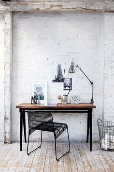 whitewashed concrete wall and desk / sfgirlbybay