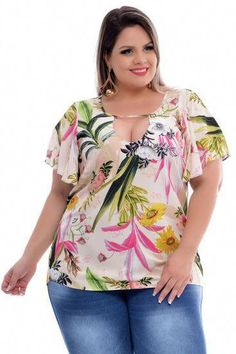 Blusa plus size mollina in 2019 printed blouses розовое плат Looks Plus Size, Plus Size Work, Plus Size Model, Sport Outfits, Casual Outfits, Fashion Outfits, Plus Size Summer Fashion, Modelos Plus Size, Mode Plus