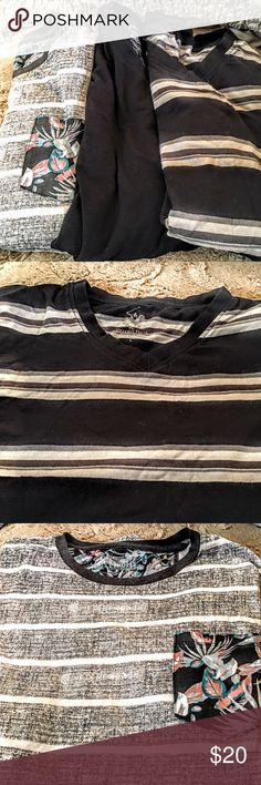 bundle of three men's large tee  bundle of 3 men's large tee long and short sleeves American rag like brand new black with white long sleeves and white picket muti color grey and black with a Hawaii design on pocket like new beverly hills polo stripe tee black with grey muti like brand new all items have no stains rips and been cleaned U.S. Polo Assn. Shirts Tees - Short Sleeve