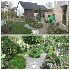 Terrassse Mit Holzbelag Und Steinernem Hochbeet Garten