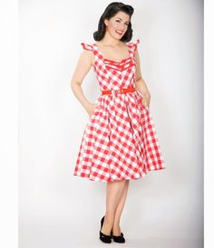 Sooo cute purrfect for a Summer picnic or BBQ Bernie Dexter Antonella Pin  Up Dress In Red 836311df3