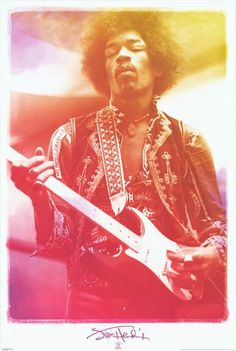"""An awesome Jimi Hendrix poster! A colorful and trippy portrait of the left-handed god of the Fender Stratocaster! Fully licensed. Ships fast. 24x36 inches. """"Exp"""