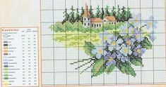 prima zi: diagrame goblen - lunile anului Cross Stitch House, Cross Stitch Boards, Cross Stitch Tree, Just Cross Stitch, Cross Stitch Flowers, Cross Stitch Designs, Cross Stitch Patterns, Beaded Banners, Cross Stitch Landscape