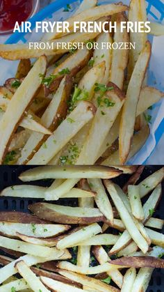Here's how I make Crispy Air Fryer French Fries from Fresh or Frozen. Fries made in the Air Fryer are known to be healthy, crispy, and delicious. Air Fryer Recipes Videos, Air Fryer Recipes Chips, Air Fryer Recipes Low Carb, Air Fryer Recipes Breakfast, Air Frier Recipes, Air Fryer Dinner Recipes, Healthy French Fries, Air Fry French Fries, Cooking French Fries
