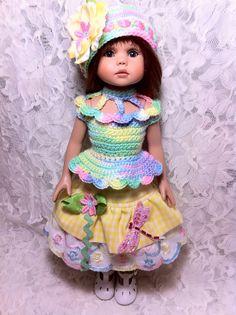 "*Daydreams of Dragonflies*  OOAK fashion by sewnbyrachel.  Fits 13"" Diana Effner Little Darling, Kish, Ipelhouse, Linda Ricks Key to My Heart, etc.  contact sewnbyrachelr@yahoo.com"