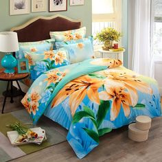 Sky Blue Yellow and Green Asian Lily Botany Country Chic Elegant Oriental Style Fresh World Nature Full, Queen Size Bedding Sets