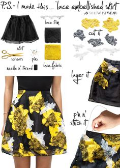 P.S.- I made this... Lace Embellished Skirt with Who What Wear #DIY #PSIMADETHIS