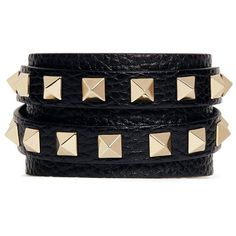 Valentino 'Rockstud' double wrap leather bracelet ($280) ❤ liked on Polyvore featuring jewelry, bracelets, accessories, fillers, black, valentino jewelry, leather jewelry, studded jewelry and leather bangles