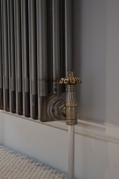 Raw Metal Column Rad paired with Bentley Gothic Valves Home Living Room, Living Room Decor, Column Radiators, Radiator Valves, Thatched House, Stair Landing, Central Heating, Open Shelving, Bad