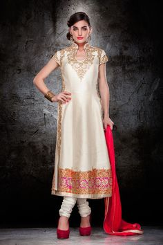 Off White Raw Silk Pakistani Style Suit 63179