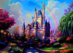Pics For > Disney Castle Painting Thomas Kinkade Art, Thomas Kinkade Disney, Disney Love, Disney Art, Kinkade Paintings, Thomas Kincaid, Castle Painting, Art Thomas, Cinderella Castle