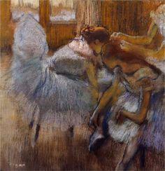 Edgar Degas Dancers Relaxing hand embellished reproduction on canvas by artist Edgar Degas, Degas Drawings, Degas Paintings, Mary Cassatt, Pierre Auguste Renoir, Toulouse, Degas Dancers, Ballet Dancers, Ballet Art